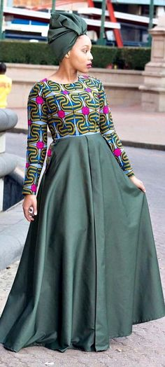 Army green African print long dress with pockets and headwrap. Army green…