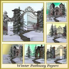 Winter Pathway Backgrounds by Christine Hart Winter Pathway Backgrounds beautiful winter themed backgrounds for all your creative design needs 8x8 300dpi