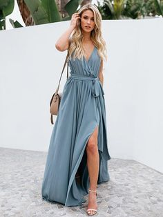 oshoplive Solid Color Deep V-Neck Split-Side Maxi Dress Light Blue / S Maxis, Plus Dresses, Summer Dresses, Bohemia Dress, Boho Chic, Blue Maxi, Types Of Sleeves, Light Blue, Beach Holiday