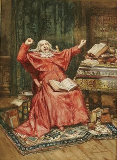 Alfred Louis Vigny Jacomin(1842-1913) — A Cardinal in His Library (600×821)