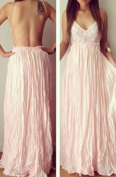 Pinner Said: Pink backless maxi....probably not for the bustier gals...which is mee...sad face..but still love.