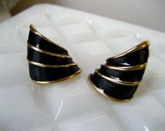 Vintage Black Enamel Earrings - Gold Tone Vintage Wing Cuffs