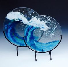 Glass Fusion Wave panels by Carolyn Schena