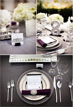 table setting. Frame centre piece