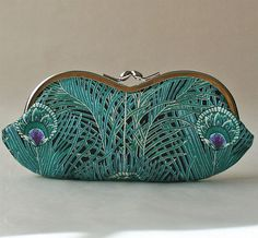 Feathered Friend, Peacock eyeglass case, sunglass case or small clutch by me on Etsy