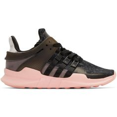 adidas Originals Black and Pink Equipment Support ADV Sneakers ($120) ❤ liked on Polyvore featuring shoes, sneakers, black, rubber sole shoes, black trainers, lace up sneakers, black low tops and black shoes