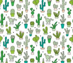 Cactus cacti garden botanical succulent green garden pattern illustration print fabric by littlesmilemakers on Spoonflower