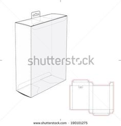 Box with Shelf Hanging Hole and Die cut Layout