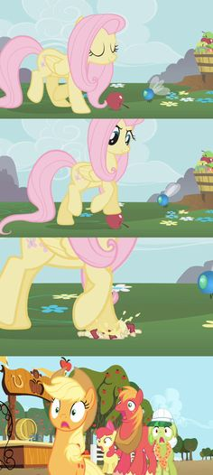 fluttershy mURdErS an innocent apple Mlp Comics, Funny Comics, Comic Pictures, Funny Pictures, Big Macintosh, Mlp Memes, Nightmare Moon, My Lil Pony, My Little Pony Characters