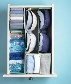 Shoe Boxes as Drawer Dividers.Time for your lingerie drawer to step into line. Cut shoe boxes in half, along the length or width, and fill the resulting compartments with folded briefs, socks, or stacked bras.