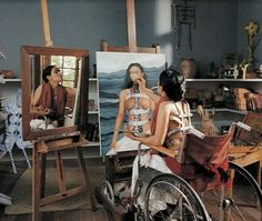 The artist Frida Kahlo at work in her studio.