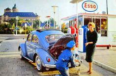 VW beetle service stop & woman