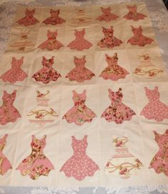 Little Pink Dresses Hand Appliqued Quilt by MountainBottomQuilts, $75.00