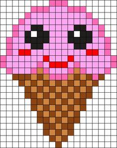 Kawaii Ice Cream by on Kandi Patterns Kandi Patterns, Hama Beads Patterns, Beading Patterns, Beaded Cross Stitch, Cross Stitch Embroidery, Cross Stitch Patterns, Perler Bead Art, Perler Beads, Fete Shopkins