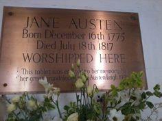 Plaque in Steventon Church, where Jane Austen's father was Rector until 1801