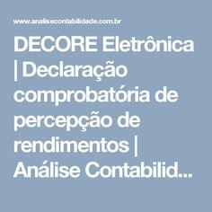 DECORE Eletrônica | Declaração comprobatória de percepção de rendimentos | Análise Contabilidade