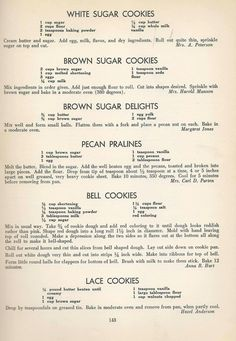 Vintage Cookies Recipes From 1940 (old fashioned sugar cookie recipes) Retro Recipes, Old Recipes, Vintage Recipes, Cookbook Recipes, Recipies, Family Recipes, Homemade Cookbook, Cookbook Ideas, 1950s Recipes