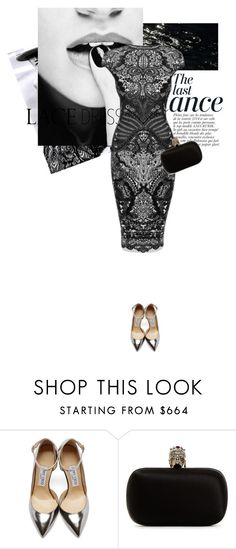 """LaceDress1"" by magsterific ❤ liked on Polyvore featuring Alexander McQueen, Anja, Jimmy Choo and lacedress"