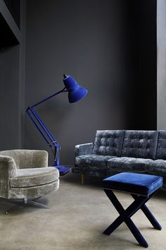 Chalky Paint - The Abigail Sofa in Prussian Blue Velvet.