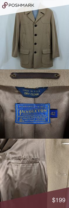 Pendleton Men's Wool Peacoat Camel Excellent Excellent condition, like new.  Size 42  We consider all serious offers, and we offer bundle discounts.  Thanks for shopping with us! Pendleton Jackets & Coats Pea Coats