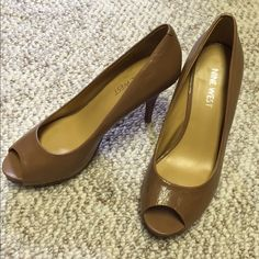 Nine West Tan Peep Toe Heels Great condition! Super soft leather Nine West Shoes Heels
