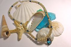 Mermaid Pearl Necklace with Ocean Blue by Sparklesbythesea on Etsy, $48.00