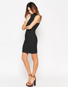 ASOS Bodycon Dress in Rib with High Neck