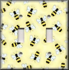 Light Switch Plate Cover Bumble Bees Yellow And Black Home Decor