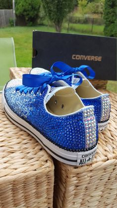 Something Blue Customized OMBRE Crystal Converse Chuck Taylor All Star Low Top Shoes - All Sizes and Colors Embellished Shoes, Rhinestone Shoes, Bling Shoes, Glitter Shoes, Bedazzled Converse, Red Converse, Nylons, Low Top Sneakers, Wedding Converse