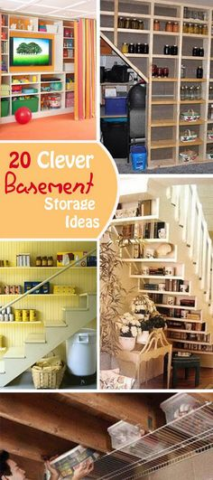 20 Clever #BasementStorage Ideas  Do you need more storage space to #organize the clutter in your home? Check out this list of clever basement storage ideas, and you may find a solution to your storage problems in your basement.
