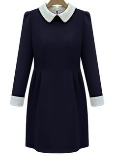 Cute Turndown Collar Puff Sleeve Navy A Line Dress with cheap wholesale price, buy Cute Turndown Collar Puff Sleeve Navy A Line Dress at wholesaleitonline.com !