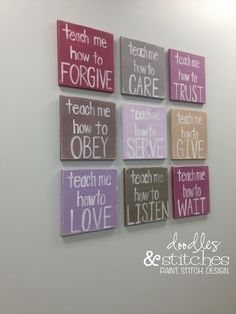 DIY - Game Room or Youth Room Wall Decor - It's inexpensive and takes up a lot of room on a big, blank wall.  You could paint these to say anything.