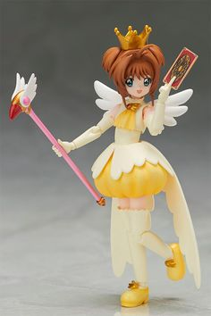 """Sakura Kinomoto is the heroine of the popular '90s manga and anime by CLAMP *Cardcaptor Sakura* in which she accidentally releases a set of """"Clow Cards"""" out into world and then has to get them all back again. This cute action figure from Bandai Tamashii Nations' highly acclaimed lineup of action figures S.H. Figuarts recreates her in all her adorable glory. Dressed in her pretty yellow dress from ..."""