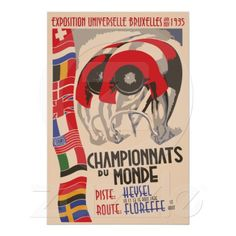 Retro 1930s art deco design cycling world championships Brussels Belgium poster (our vector remake)