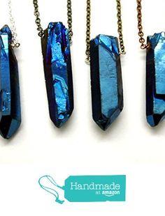 Blue Rainbow Aura Titanium Quartz Point Raw Crystal Pendant Necklace with…