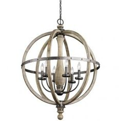 Six Light Distressed Antique Gray Up Chandelier