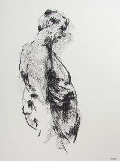 "Male Figurative Art - ""Drawing 106"" - 9 x 12"" oil pastel on paper - original drawing by Derek Overfield"