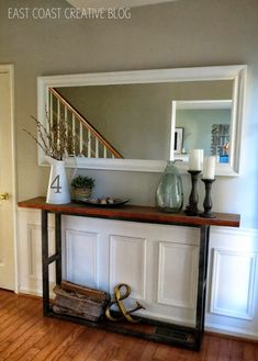 If your narrow hallway won't fit the average credenza, slim down. This DIY console makes the most of a tight space by offering extra style and a place to drop your keys. See more at East Coast Cre Diy Entryway Table, Entryway Ideas, Diy Table, Dyi Console Table, Skinny Console Table, Console Styling, Table Mirror, Hallway Ideas, Knock Off Decor