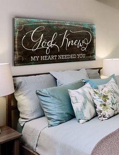 Christian Wall Art: God Knew My Heart Needed You (Wood Frame Ready To Hang) - Diywallart Bathroom Wall Art, Bedroom Wall, Bedroom Decor, Bedroom Ideas, Farm Bedroom, Bedroom Signs, Taupe Bedroom, Porch Wall Decor, Bedroom Wardrobe
