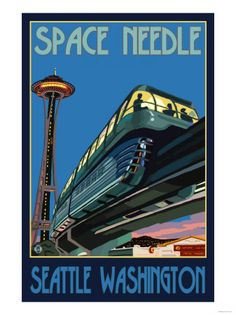 Space Needle and Monorail, Seattle, Washington. We went to the world fair when it opened and went up in the space needle.
