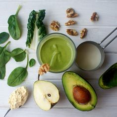 Green Super Food Thick Shake  Credit @eatlikeeloise  1/2 cup packed spinach 1/2 cup packed silverbeet 1/2 pear chopped into chunks 2 tbsp ripe avocado 1 tbsp natural sweetener (rice malt syrup/stevia/honey) 1 tsp maca powder tbsp plantbased vanilla protein powder (I use pea protein as it is so creamy in smoothies) half a handful of raw walnuts (about 1/4-1/3 cup) 2/3 cup soy milk  Blitz altogether in a blender until super duper smooth and thick, top with more crushed walnuts if desired.