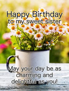 To my Charming Sister - Happy Birthday Card:  A mug full of tiny daisies is a special birthday treat! Send your sister this charming birthday greeting card on her special day. Your sister will adore the simple beauty and grace of these flowers, and smile at the warm message of love. Let your sister know you are thinking of her on her birthday, and send this wonderful birthday card today!