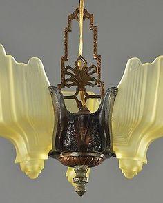 Slip Slipper Shade Chandelier c1920 Vintage Antique Restored French Ceiling