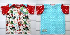 Quinn & Jade Designs FB Custom 9m lap tee motorcycle w/sidecar, red star sleeves & blue polka dot back
