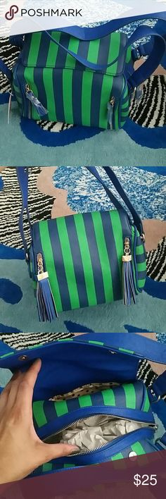 Stripe shoulder bag.. Green and blues striped bag. Pair with with tee and pencil skirt or denim.. definately a statement bag with lots of room and pockets Melie Bianco Bags Shoulder Bags