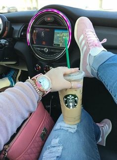 Cruising In Pink | Pink | Adidas | Adidas Gazelle | Pink Adidas | Pink Betsey Johnson watch | Pink Karl Lagerfeld purse | Pink Anne Klein bracelet | Pink nails | Mini cooper | Starbucks