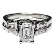 Bridal-set: 14K White Gold Emerald Cut Diamond Trellis Engagement Ring with Tapered Baguette Diamond Accents 0.20 tcw.