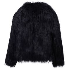 Black Vintage Style Faux Fur Coat ($44) ❤ liked on Polyvore featuring outerwear, coats, faux fur coat, faux coat, fake fur coat, imitation fur coats and vintage style coats