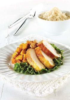 Poulet à l'indienne et courge épicée Squash, Carrots, Modus Vivendi, Chicken, Vegetables, Food, Acorn Squash, Poultry, Indian Chicken