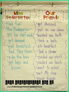 Read Miss Bindergarten on the first day of kindergarten and make lists of all the things we have to do to get ready for kindergarten!
